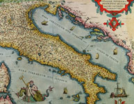 Map of Italy from the 1574 edition of the great atlas compiled by Abraham Ortelius