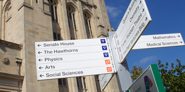 University building direction signs