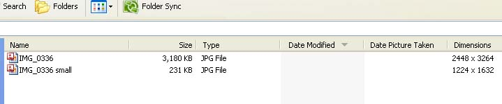 Display file size and dimensions