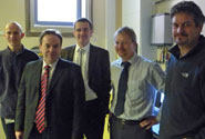 l-r: Dr Neil Fox; Ian Lucas MP; Professor Martin Kuball; Fred Hale; Professor Daniel Robert