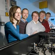 University of Bristol team use Time-resolved IR spectroscopy in the ULTRA laser laboratory to measure condensed phase reaction dynamics at STFC's Rutherford Appleton Laboratory's Central Laser Facility.L-R:Rebecca Rose, Ian Clarke, Stuart Greaves, Mike Towrie, Prof Andrew Orr-Ewing, Bristol University except Clarke and Towrie, both CLF.