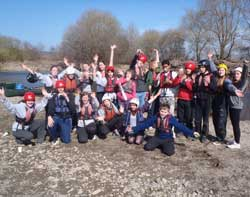 Volunteers and participants after a canoeing trip on the River Wye