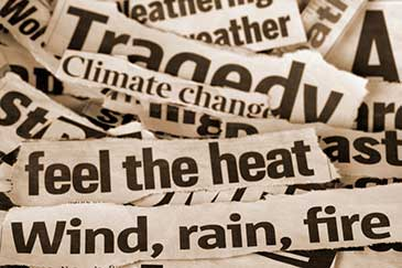 Image showing newspaper headlines about climate change