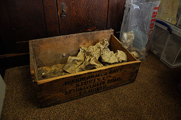 Image of the box of material from ancient Ur found in Bristol's Department of Archaeology