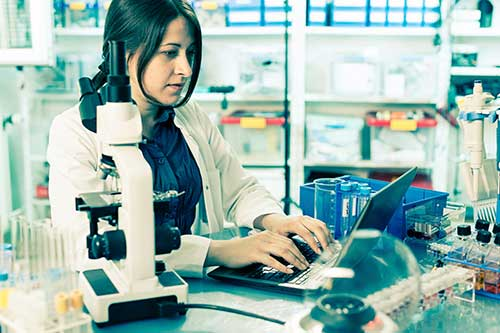 Image of a scientist at work in the lab