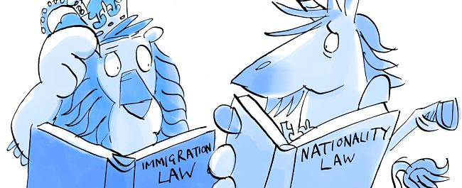 A lion and a unicorn looking at books of immigration law with confusion